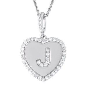 Letter J Initial Heart CZ Pendant Sterling Silver
